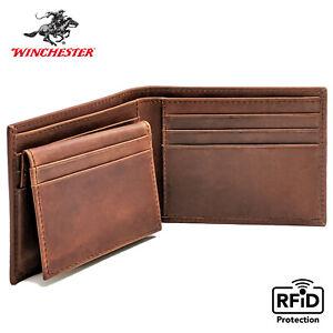 Winchester Mens Passcase Bifold Wallet RFID Blocking Full Grain Genuine Leather