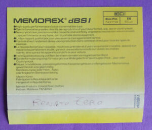CUSTODIA INLAY MC Musicassetta MEMOREX DBS I Compact Cassette Vintage USATA