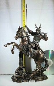 Bronze Effect Samurai Figure / Statue  RISING HORSE WITH SPEAR by Veronese NEW
