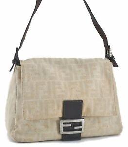 Auth FENDI Zucca Mamma Baguette Shoulder Hand Bag Canvas Leather Beige C5275