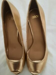 Asos Gold peep Toe Shoes Size 5 BNWT