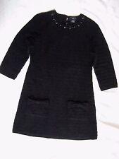 Sutton Studio Petite Size P S Crochet Sweater Dress Black Super Soft