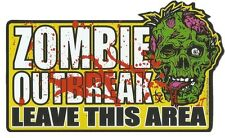 "2x Zombie Outbreak Leave This Area Large Car Magnet 5"" x 3"" Walking Dead Warning"