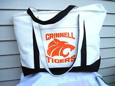 Leed's Lands' End Style Grinnell Tigers Zipper Top Canvas Tote White & Black New