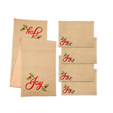 Holiday Joy Table Runner Placemat 5 Piece Set Beige Gold Red Green Embroidered