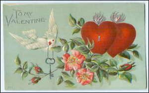 Y3024/ To my Valentine  Taube Herz Litho Prägedruck AK ca.1910