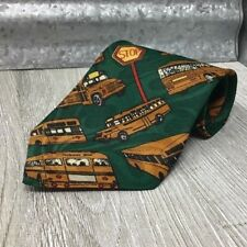 Florence Men's Silk Neckwear School Buses Stop Signs Green Yellow Red Gold