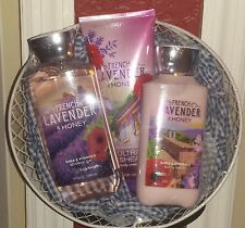 BATH AND & BODY WORKS FRENCH LAVENDER & HONEY gel lotion women's gift basket NWT