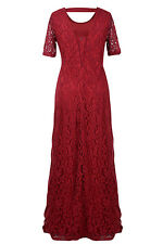Plus Size Women Lace Chiffon Dress Formal Wedding Party Half Sleeves Zipper Gown