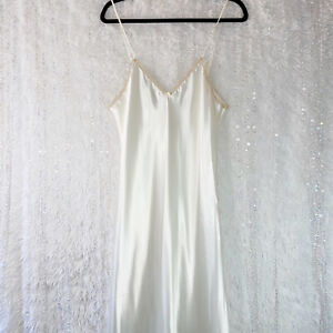 Colesce Couture Chemise NightgownLong Liquid Satin & Lace Vintage Ivory LARGE