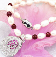 New 7-8mm white akoya cultured pearl garnet ruby necklace crystal pendant 18 ""