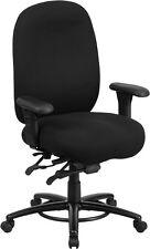 Big & Tall 350lb.Capacity Black Fabric Multi-Functional Swivel Chair -Foot Ring