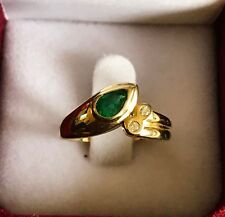 Solid 14K Gold Ring 3.58gr With Diamonds and Natural Colombian Emerald 6x4mm
