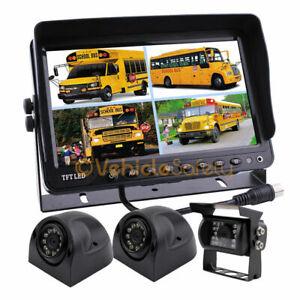 "3 x Reversing Camera + 9"" LCD Monitor Car Rear View Kit For Bus Truck 12V/24V"