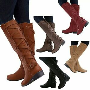 WOMENS LADIES BLOCK LOW HEEL BUCKLE OVER THE KNEE STUDDED BOOTS SHOES SIZE 3-8