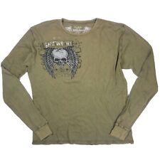 Affliction Mens Size XL Distressed Gentlemans Duel Skull Graphic Olive  T-Shirt
