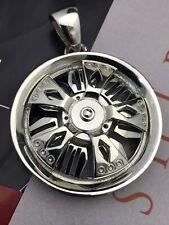"Unique Silver CI  Chrome ""Spinner Rim"" Belt Buckle"