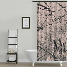 Metro Shower Curtain: Cherry Blossom Graphic Print / Pink and Black