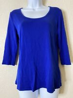 New York & Company Womens Size L Blue Knit T-Shirt 3/4 Sleeve