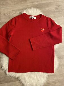 100% Authentic Comme des Garcons CDG Red Play Ladies Round Neck Wool Sweater M