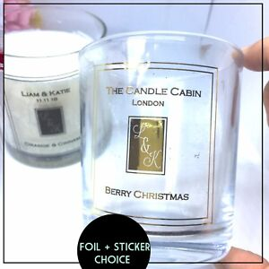 Candle stickers foil label wedding, business, gift Transparent Personalised