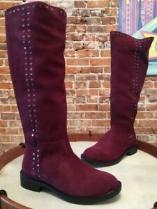 Steve Madden Natural Comfort Wine Suede Zoe Studded Riding Boot 6.5 W New