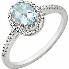 Genuine Aquamarine Oval Cut Gemstone & Diamonds Halo Ring in 925 Sterling Silver