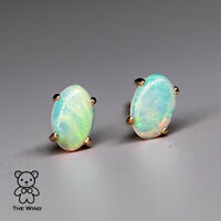 Oval Natural Australian Crystal Solid Opal Stud Earrings in 14k Yellow Gold