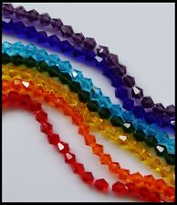 6mm BICONE CHAKRA BRIGHT BULK 350 Beads A-GRADE Crystal Glass FACETED Rainbow