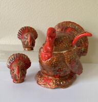 TURKEY TUREEN w/ LADLE & SALT PEPPER Gravy Dish Ceramic Brown Red SIGNED EUC