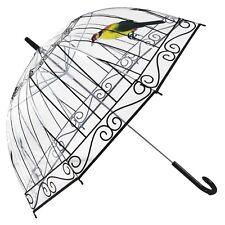 Girls Transparent Rain Umbrella Folding Dome Cute Bird Cage Print Long Parasol