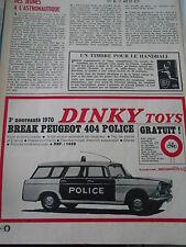 Pub 1970  DINKY Toys Break Peugeot 404 police