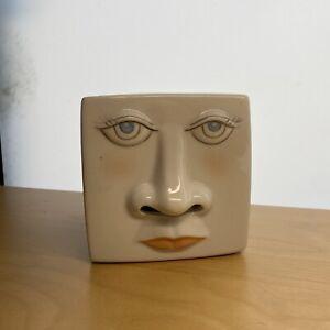 Vintage Ceramic Face Tissue Box Cover Nostalgic Kleenex Freckle 1980's Cute Fun