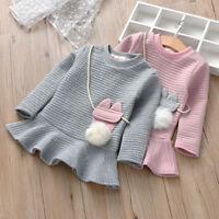 AB Infant Kids Baby Girl Lovely Cartoon Striped Princess Sweatshirt Dress UK