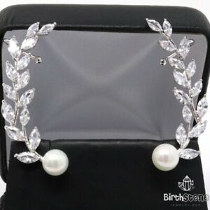 Unique Women Round White Pearl Crawler Earrings Women Jewelry White Gold Plated