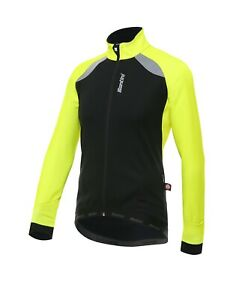 Men's Windstopper Polar Jacket in Black/Yellow Made in Italy by Santini Size L