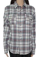 Free Nature Women's Top Gray Size Small S Boyfriend Plaid Button Front $38 #319