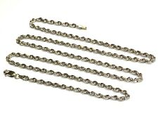 "14k white gold rope chain necklace 13.2g 2.4mm 24 1/2"" estate vintage"