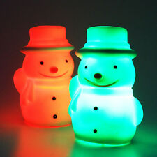 1PC Ornaments Snowman 7 Color Changing Night Light LED Lamp Christmas Gifts