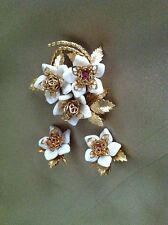Corocraft Gold Tone, Pink & White Flower Clip Earring & Pin / Brooch Vintage Set