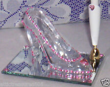 **PINK**FEATHER PEN & *GLASS* SLIPPER w/PINK RHINESTONES & HEARTS