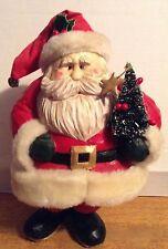 """AWESOME FAIRLY LARGE RESIN SANTA CLAUS W/ CHRISTMAS TREE FIGURINE"""