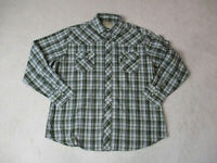 Wrangler Pearl Snap Shirt Adult Extra Large Green White Plaid Western Cowboy Men