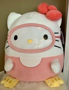 """Squishmallow 20"""" Hello Kitty Scuba Gear Plush Sanrio Pink New"""