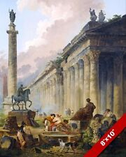 ANCIENT ROMAN RUINS VICTOR COLLUMN & TEMPLE PAINTING ROME ART REAL CANVAS PRINT