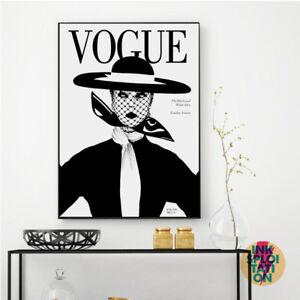 VOGUE Vintage Monotone Wall Art Typography Quote Print or Canvas CHANEL PRADA