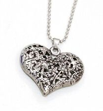FREE GIFT BAG Silver Plated Love Heart Pendant Necklace Chain Ladies Jewellery