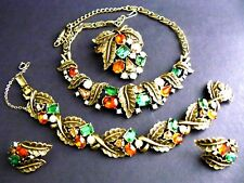 Vintage Coro Necklace Bracelet Earrings Brooch Set Gold Tone Multicolor Rhinesto