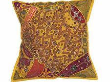 "Yellow Floor Pillow Cover Handmade Bollywood Ethnic Style Sari Big Euro Sham 26"""