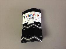 NWT Girl's Trimfit Cotton/Spandex Tights Size 6-8 Black w/ Design #127R